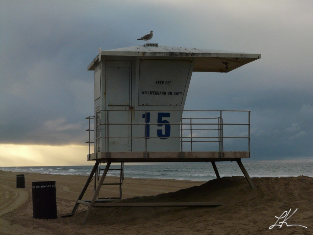 Photo: Lifeguard stand on a beach.