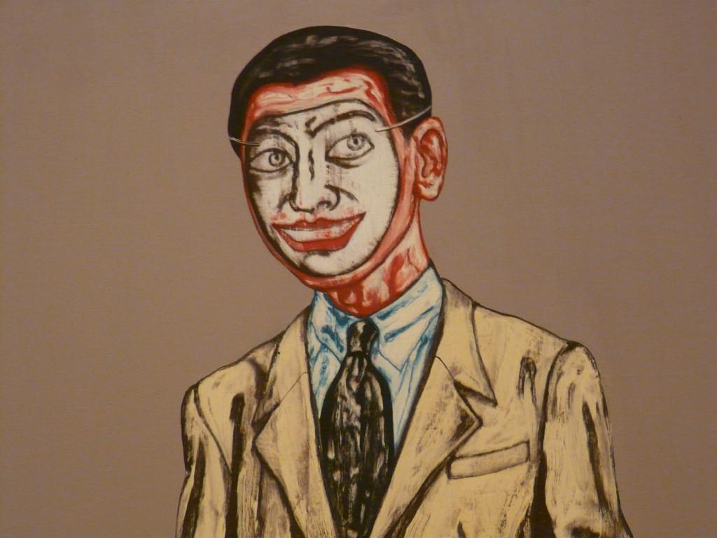 """Photo of Zeng Fanzhi's """"Mask Series No. 9"""" (1994)."""