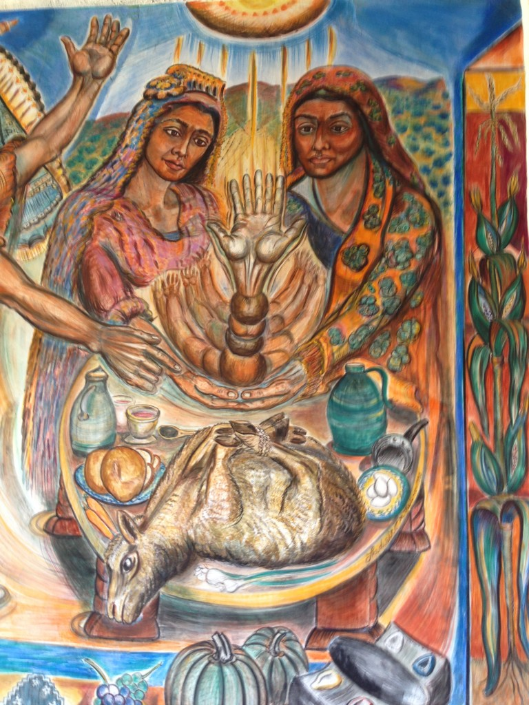 Photo: Painting of two women sacrificing a goat.